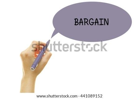Woman hand writing BARGAIN word with a marker isolated on white. - stock photo