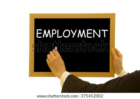 Woman hand writing Employment word on a small blackboard isolated on white - stock photo