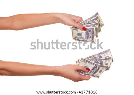Woman hands and dollars - stock photo