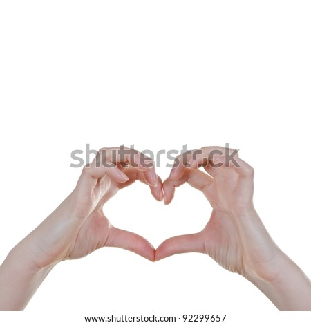 Woman Hands forming a heart sign, Isolated over white - square - stock photo
