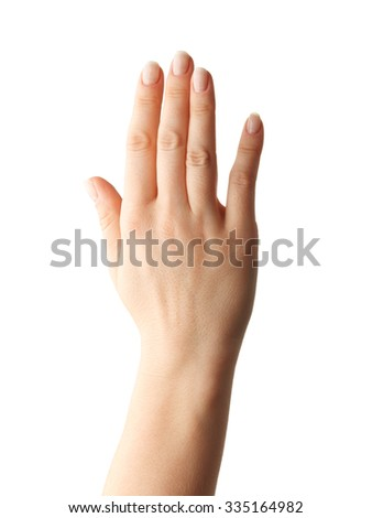 Woman Hands gestures on over white background. Isolated. - stock photo