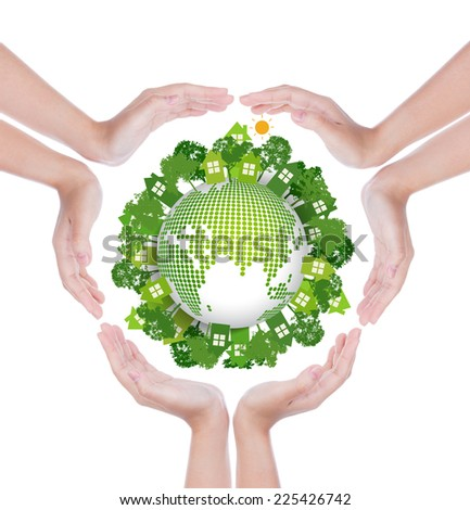 Woman hands  hold eco friendly earth - stock photo