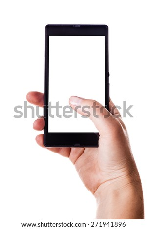 woman hands holding a smart phone with a blank screen isolated over a white background - stock photo