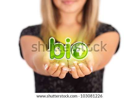 Woman hands holding ECO sign, Concept Save green planet. Symbol of environmental protection