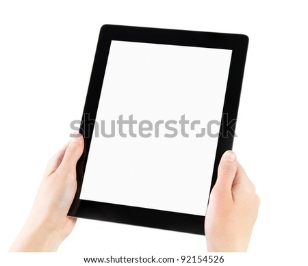 Woman hands holding electronic tablet pc with blank screen. Isolated on white. - stock photo