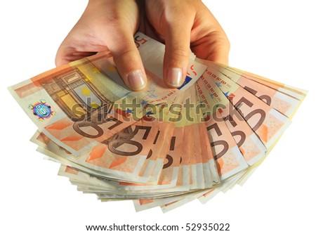 Woman hands holding euro money - stock photo