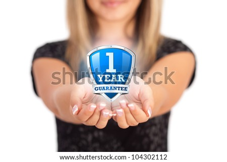 Woman hands holding protective shield