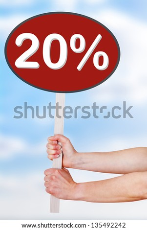 Woman hands holding sign with percentage - stock photo