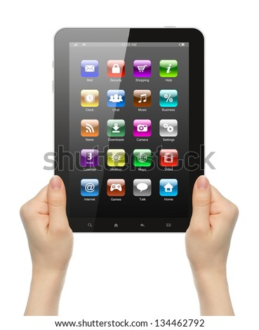Woman hands holding tablet PC with icons on white background - stock photo
