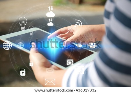 woman hands holding tablet.Social media concept. - stock photo