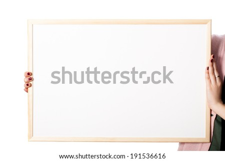 Woman hands holding white board with blank place - stock photo