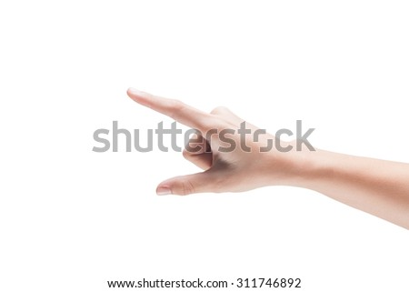 woman hands on white background - stock photo
