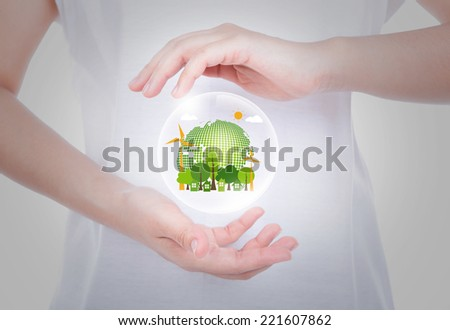 Woman hands over body hold eco friendly earth inside bubbles - stock photo