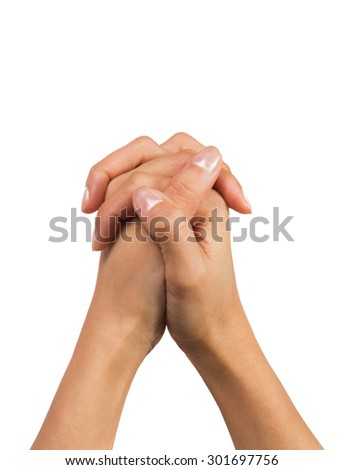 Woman hands praying isolated on white - stock photo