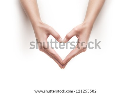 woman hands show heart gesture isolated on white - stock photo