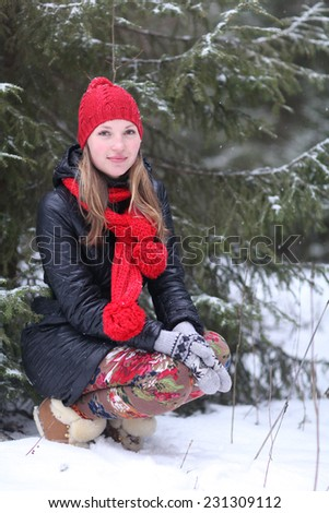 woman hands snow nature