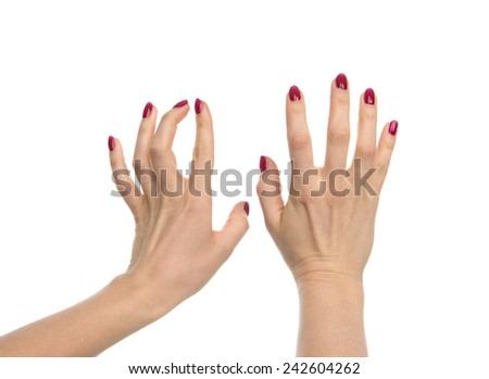 Woman hands typing on imaginary computer keyboard isolated over white background - stock photo