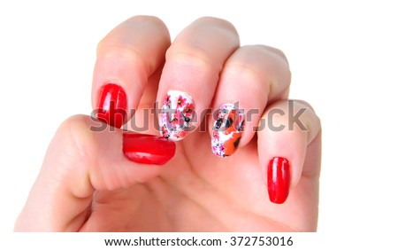 Woman hands with art modern red  manicure isolated on the white.