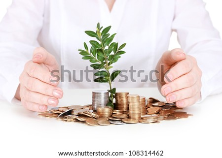 Woman hands with coins and plant - stock photo