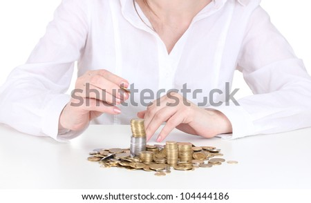 Woman hands with coins close up