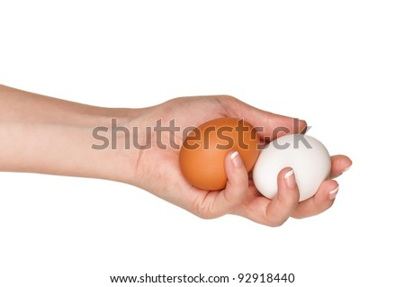 Woman hands with eggs isolated on white background - stock photo