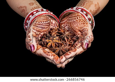 Woman hands with henna holding star anise spices isolated on black background with clipping path  - stock photo