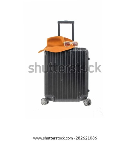 Woman hat with polycarbonate suitcase isolated on white  - stock photo