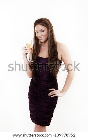 woman having a good time drinking champagne
