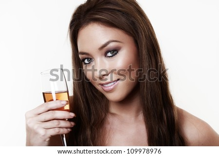 woman having a good time drinking champagne - stock photo