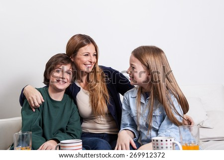 Woman having a good time with his childrens  - stock photo