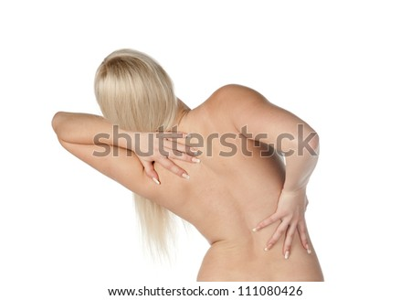 woman having a pain in her back