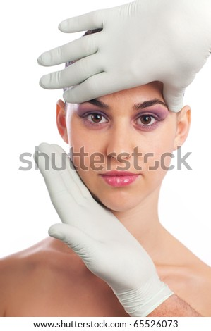 Woman having beauty treatment on face, plastic surgery of silicone - stock photo