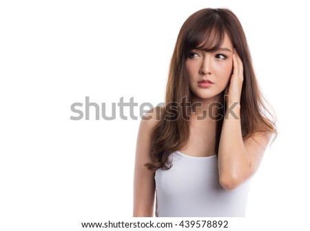 Woman having headache on white background - stock photo