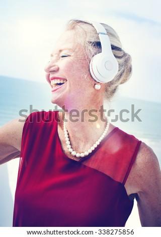 Woman Headphones Listening Music Lifestyle Concept - stock photo