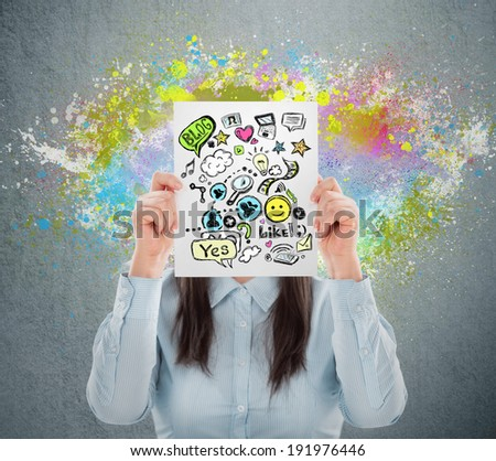 Woman hiding her face behind sign with online services. Online mask concept - stock photo