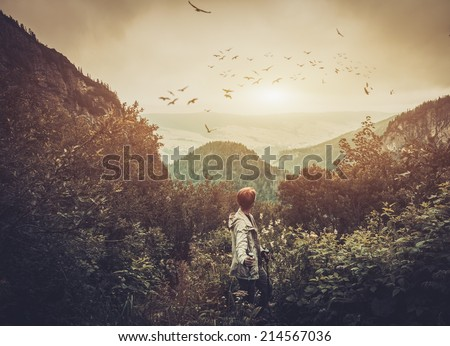 Woman hiker walking in a mountain forest - stock photo