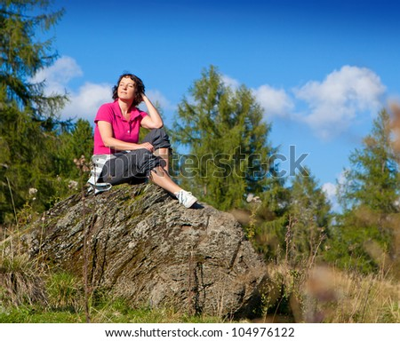 woman hiking in the nature - stock photo