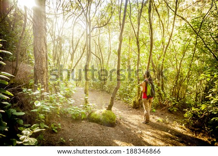 woman hiking in tropical forest - stock photo