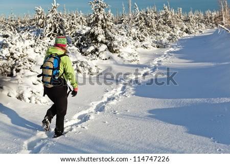 Woman hiking on snow in winter mountains, Poland - stock photo