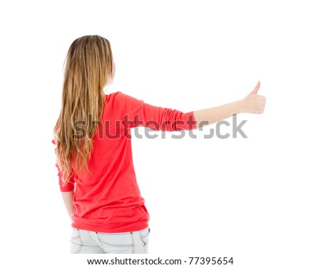 Woman hitch-hiking - isolated over a white background - stock photo