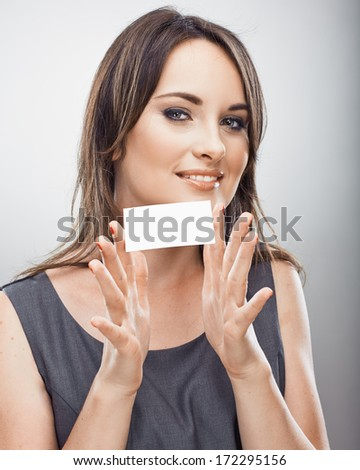 Woman hold credit card. Business concept. - stock photo