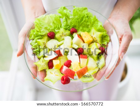 Woman hold plate delicious  - stock photo