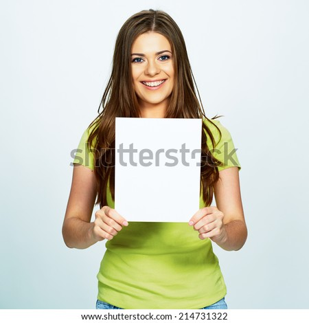woman hold white banner . isolated portrait . - stock photo
