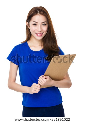 Woman hold with clipboard