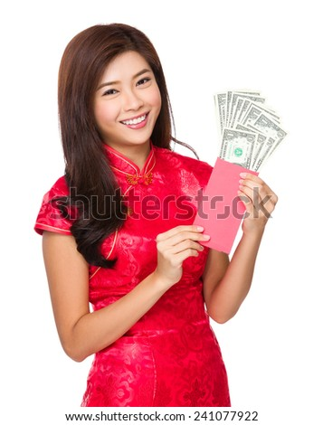 Woman hold with lucky money with USD