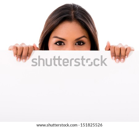 Woman holding a banner - isolated over a white background
