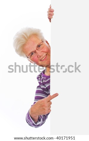 woman holding a blank over white background