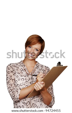 woman holding a clip board shot in the studio