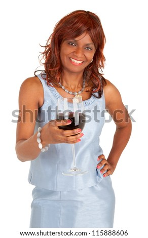 Woman Holding a Glass of Red Wine - stock photo