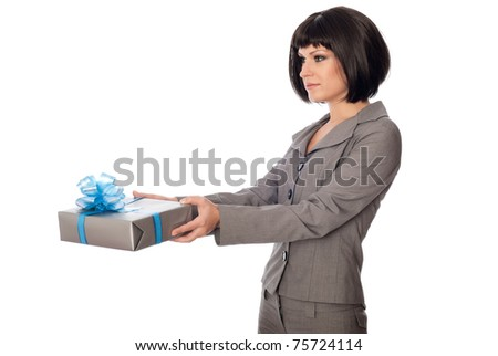 Woman holding a grey box with blue bow as a present - stock photo